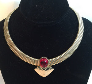 80's Gold Choker with Red Cabochon Stone