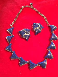 50's Blue Lucite Necklace & Earrings Set