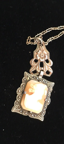 1930's Cameo Necklace Sterling Filigree Chain