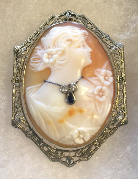 1920's 14K Filigree Cameo w/ Diamonds & Saphire