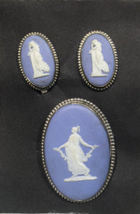 Wedgewood Brooch Pin & Earrings STERLING Greek goddesses