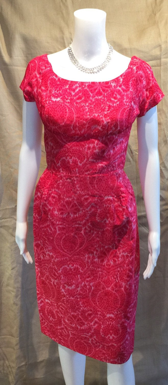Pink Silk Print WIGGLE Dress with Jacket
