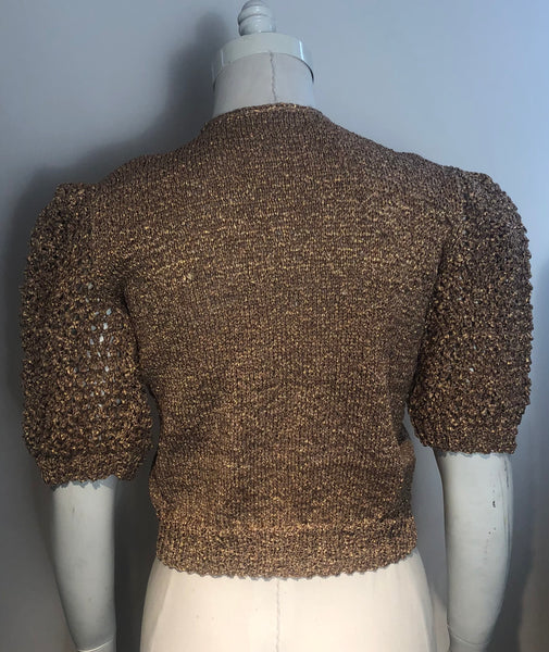1930s HAND KNIT Gold Sweater Pouffy Sleeves