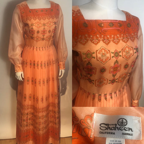 Vtg 1970s Alfred SHAHEEN Pleated Boho Dress