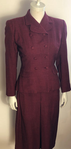 1950s Ladies Red & Black Tweed Double-breasted Suit