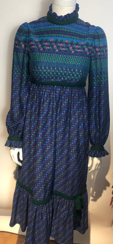 1970s MIGNON DRESS Wool Challis Lined Boho Hippy