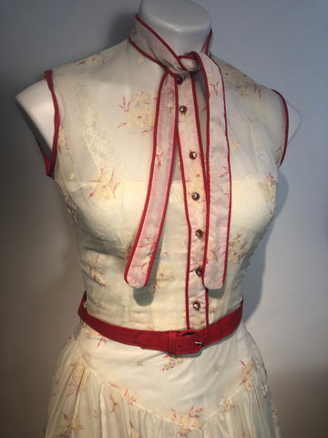 1950s Sheer Flocked Nylon Dress w/ Slip