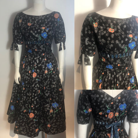 Vtg 1950s Black Floral Cotton Rockabilly Dress Full Skirt