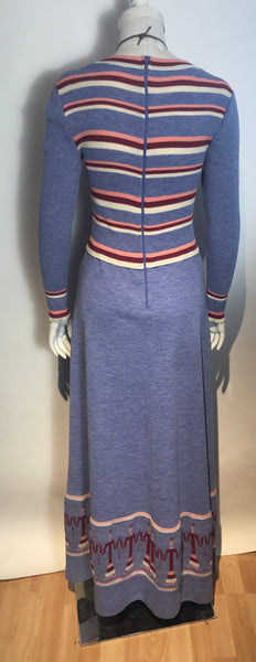 Vtg 1970s Graphic Long Intarsia Knit Dress Boho Hippy