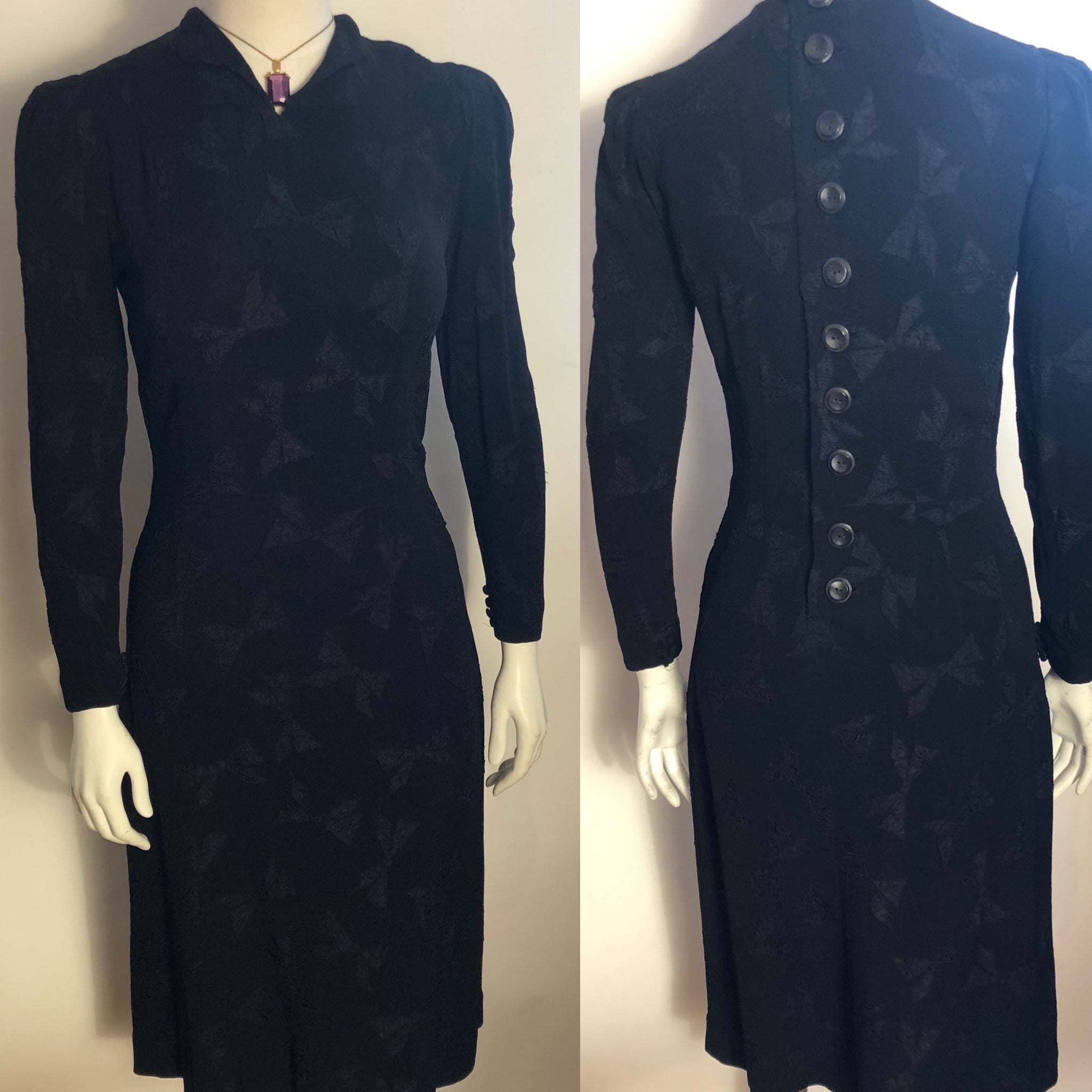 1930s Woven Crepe Dress with Bows