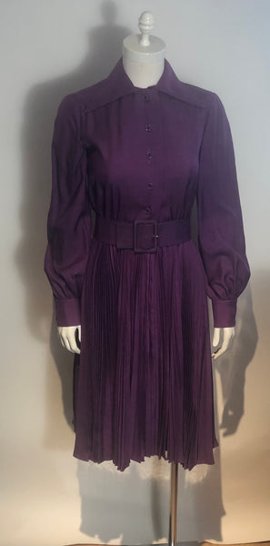Vtg 1970s GEOFFREY BEENE Raw Silk Shirtdress knife Pleats