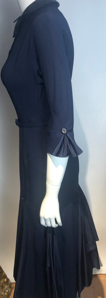 50s Navy Blue Wiggle Sexy Secretary Dress