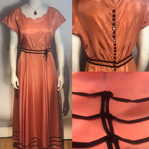 Vtg 1950s Pink & Black Taffeta Party Dress Boho Hippy