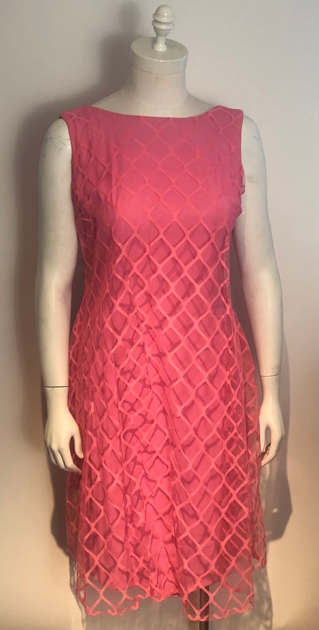 1960s Hot Pink Dress Full Net Trapeze over Fitted Sheath