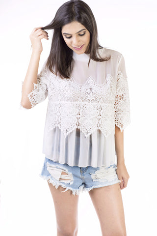 Poppy White Lace Top