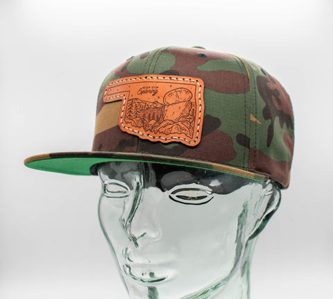 Canvas Flat Bill Leather Patch Hats