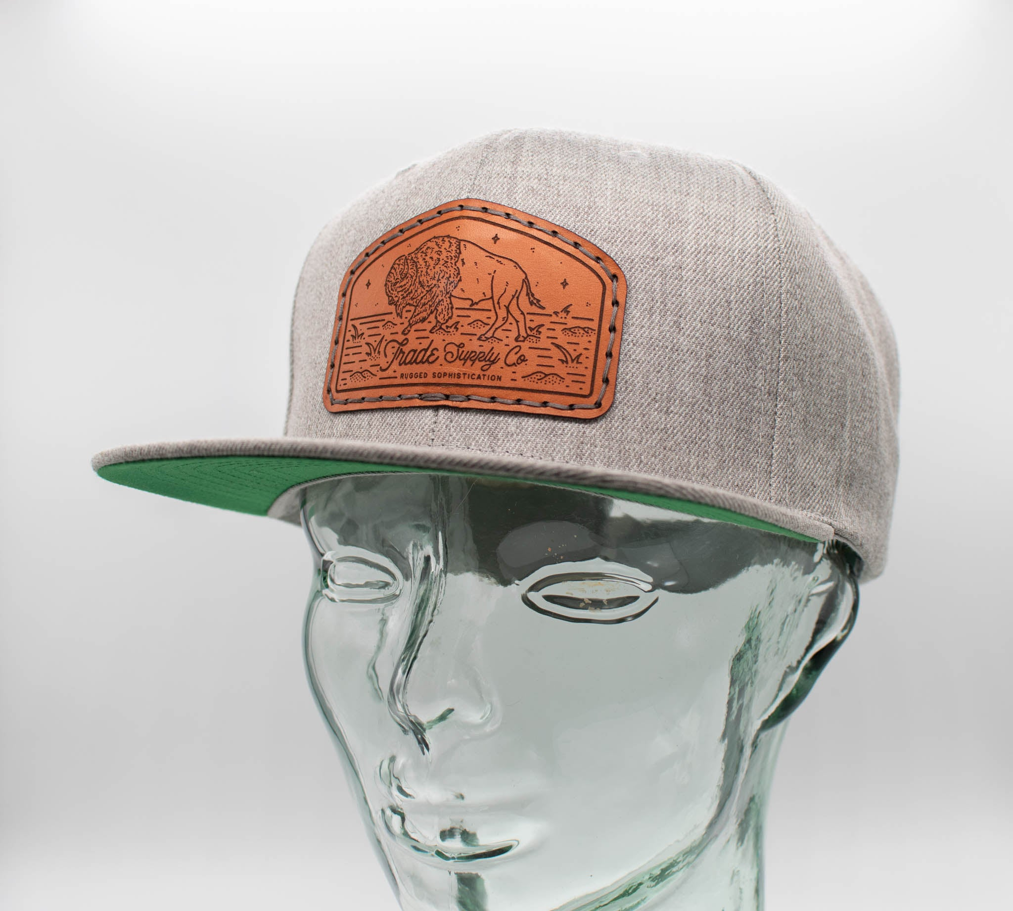 Flat Bill Leather Patch Hats