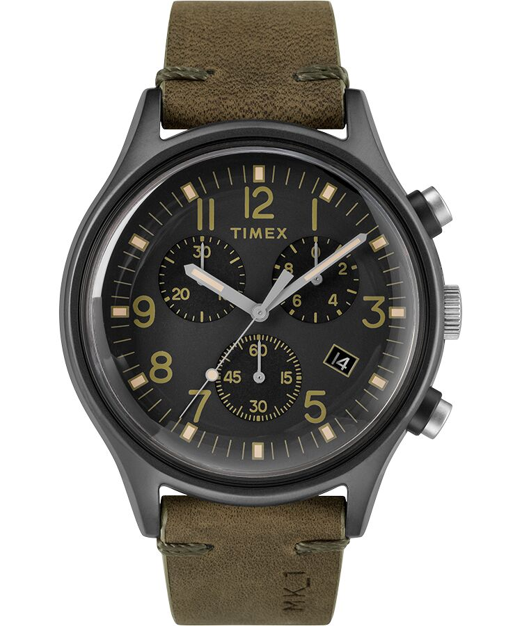 Timex - MK1 Steel Chronograph 42mm Leather Strap Watch - 20% Off