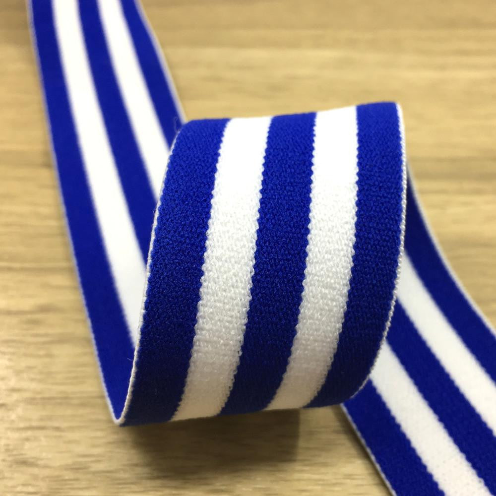 1.5 inch (40mm)  Wide Colored  Plush Blue and White Striped Elastic Band - 1Yard