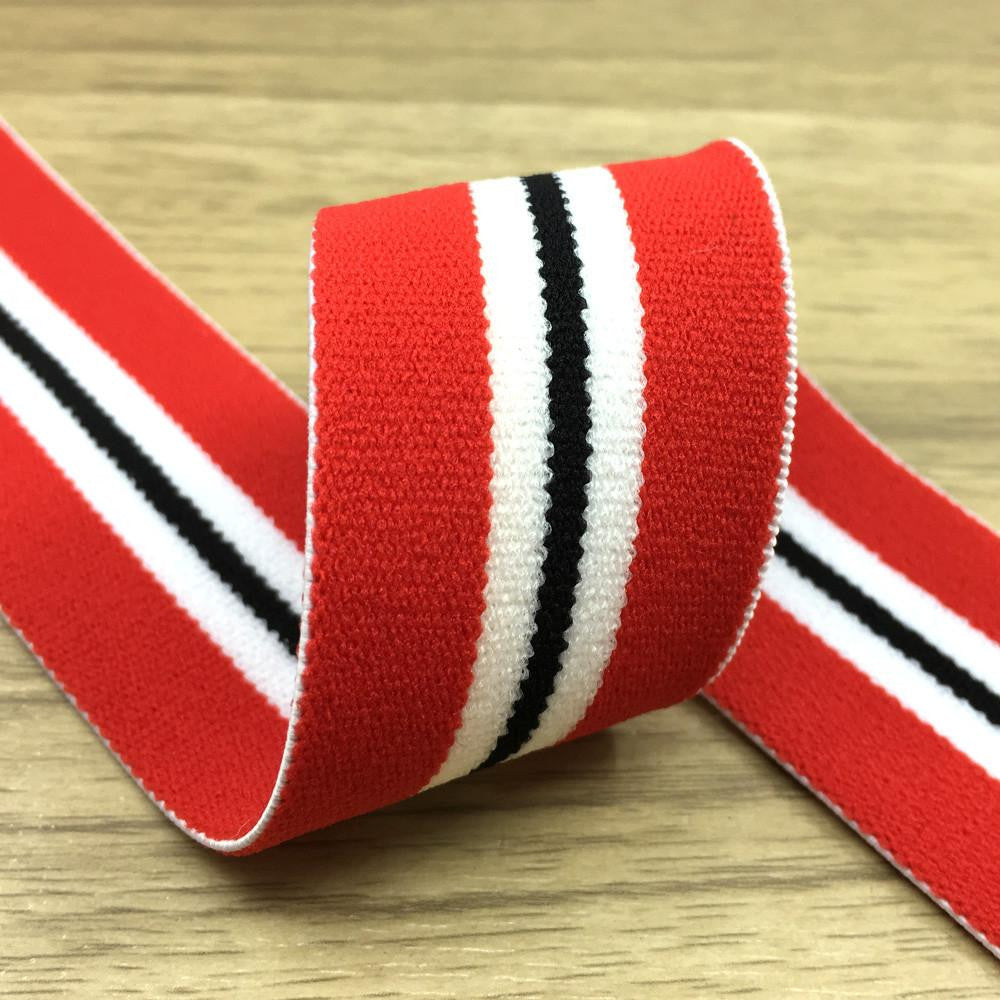 1.5 inch (40mm)  Wide Colored  Plush Red, White and Black Striped Elastic Band - strapcrafts