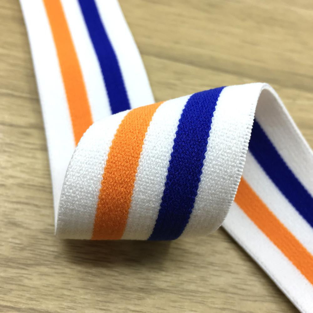 1.5 inch (40mm)  Wide Colored  Plush White, Orange and Blue Striped Elastic Band  - 1Yard