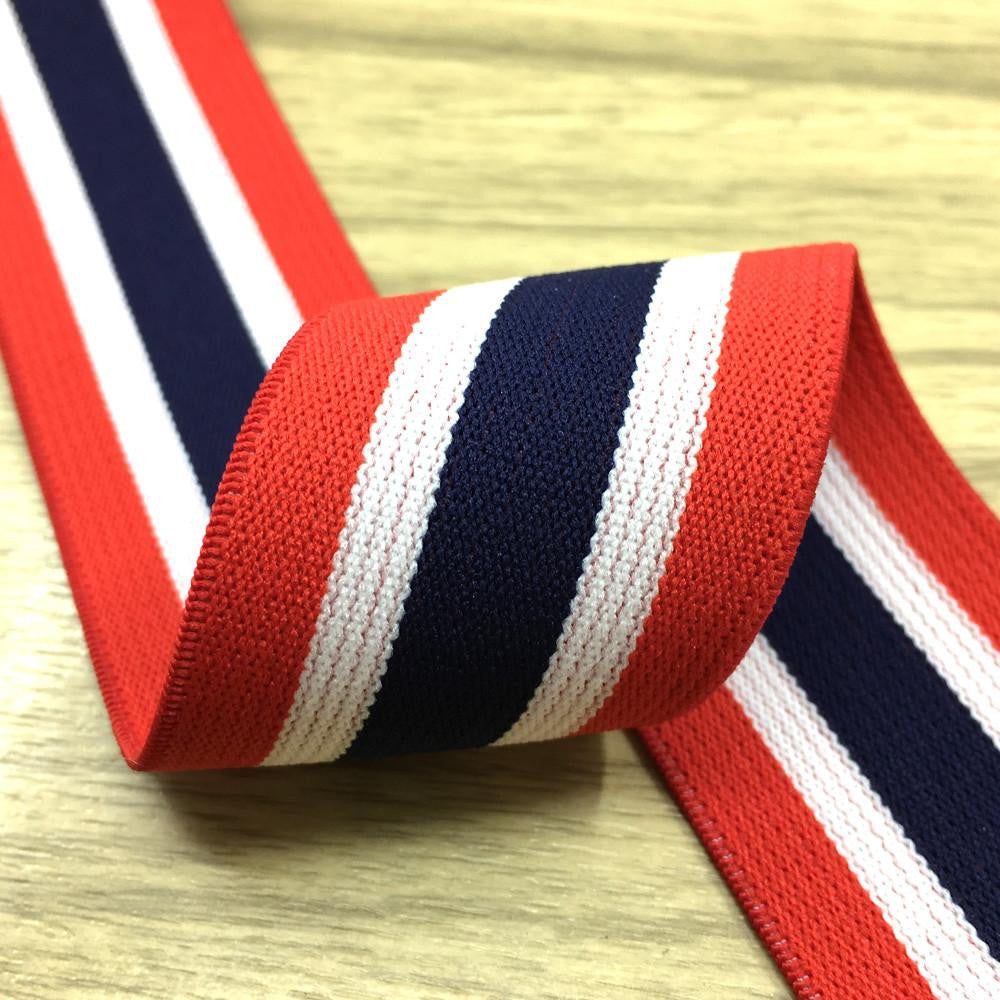 1.5 inch (40mm)  Wide Colored  Plush Red, White and Navy Striped Elastic Band  - 1Yard - strapcrafts