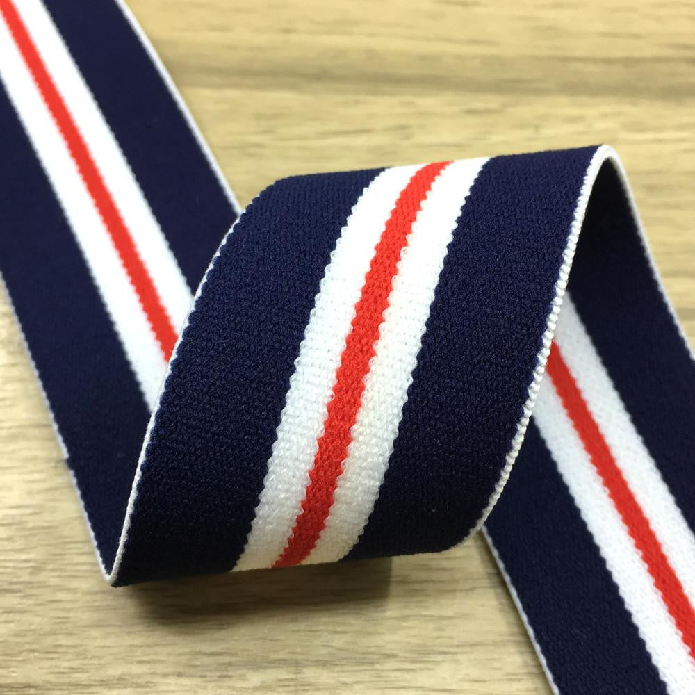 1.5 inch (40mm)  Wide Colored  Plush Navy, White and Red Striped Elastic Band  - 1Yard - strapcrafts