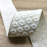 1.5 inch (40mm)  Wide Gold Glitter Jacquard Flowers Elastic Band, Soft Waistband Elastic,  - 1Yard - strapcrafts
