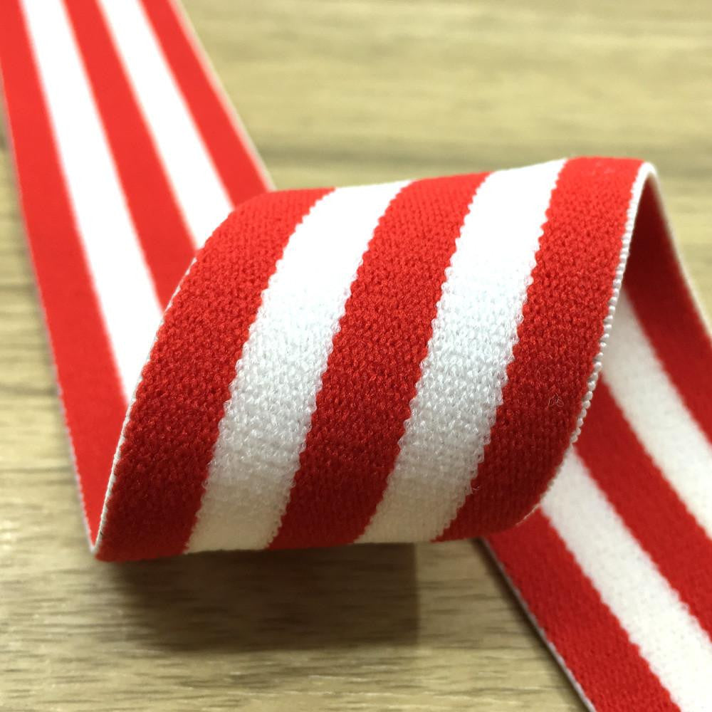 1.5 inch (40mm)  Wide Colored  Plush Red and White Striped Elastic Band- 1Yard