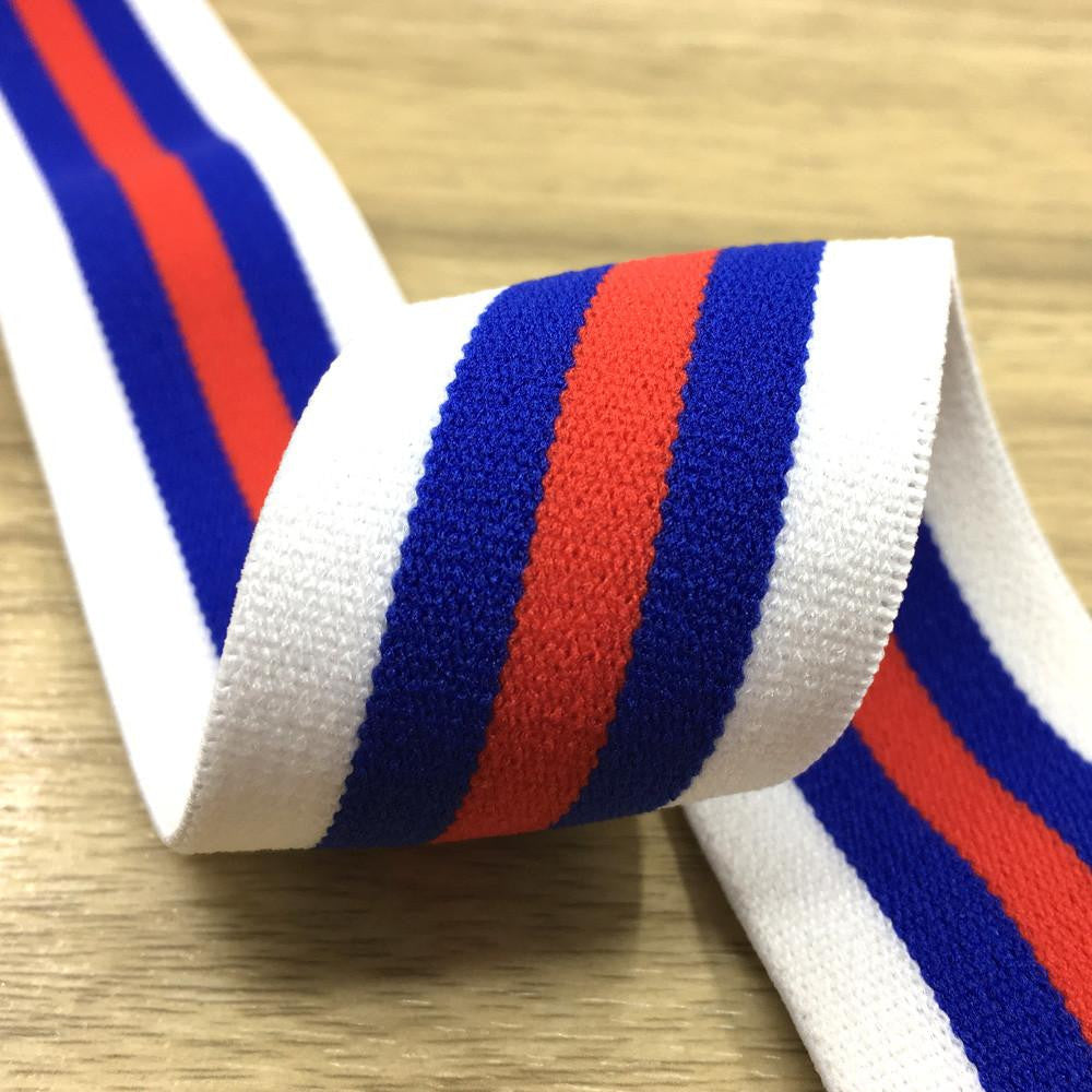 1.5 inch (40mm)  Wide Colored  Plush White, Blue and Red Striped Elastic Band - 1Yard