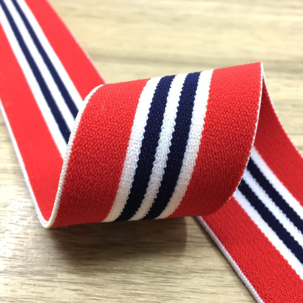 1.5 inch (40mm)  Wide Colored  Plush Red, White and Two Black Stripes Striped Elastic Band - 1Yard