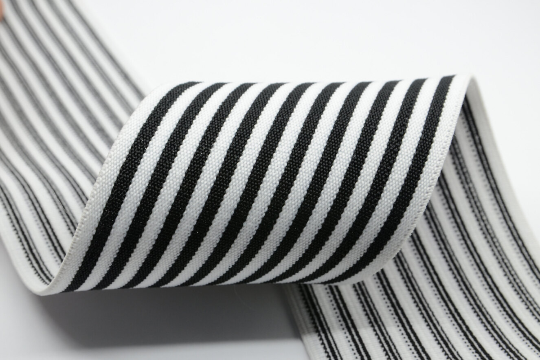 3inch (75mm) Wide  Black Striped  White Elastic Bands,-1 Yard