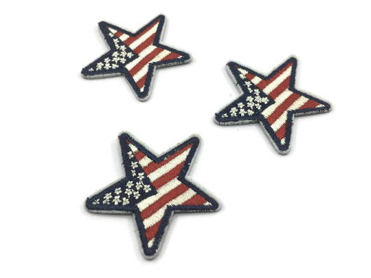 America Flag Star Iron on Back Patch, Star Embroidered patch, -1 PC