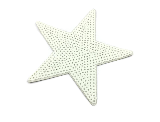 Bling Sequin White Star Sew On Back Patch, Star Applique- 1 PC - strapcrafts