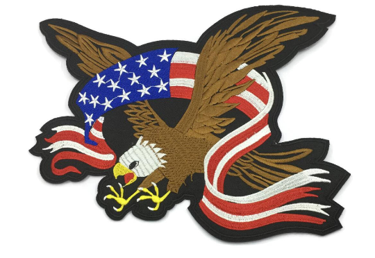 American Bald Eagle Hawk American Flag Iron on Back Patch- 1 PC ...