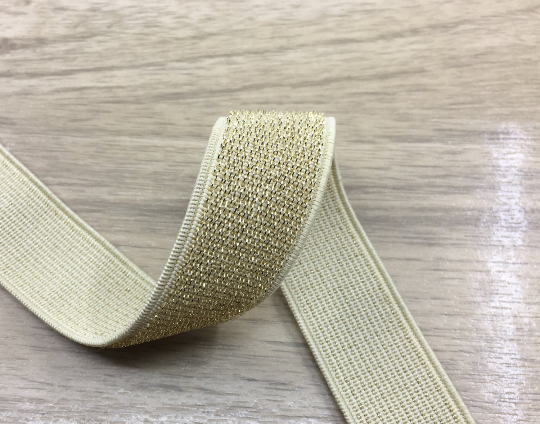 "1 "" 25mm Wide Gold and Silver Long Glitter Thread Elastic Band by the Yard"