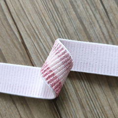 1 inch 25mm Shiny Glitter Pink Stripe elastic band- 1 yard