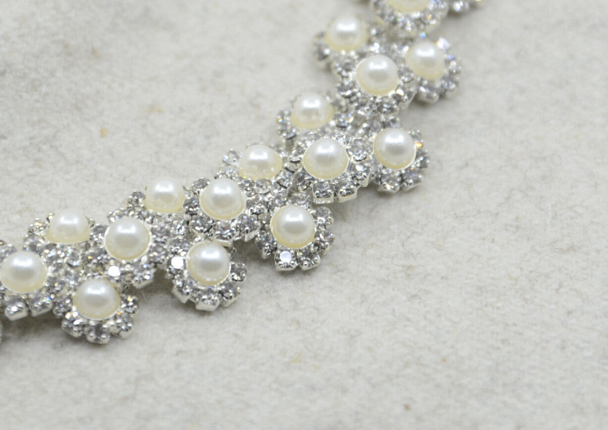 Crystal Rhinestone Pearl ChainTrim, Wedding belt, Bridal Sash, Rhinestone Pearl applique-1 Yard - strapcrafts
