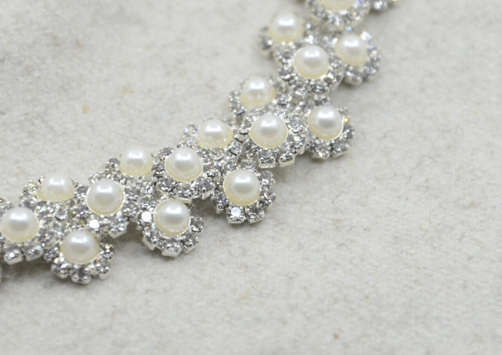 Crystal Rhinestone Pearl ChainTrim, Wedding belt, Bridal Sash, Rhinestone Pearl applique-1 Yard