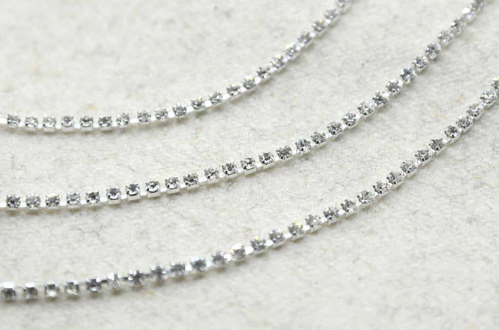 "Crystal Rhinestone Chain Trim, Wedding belt, Bridal Sash, Rhinestone Necklace,Bracelet, 1/8"" 2.5mm -1 Yard"