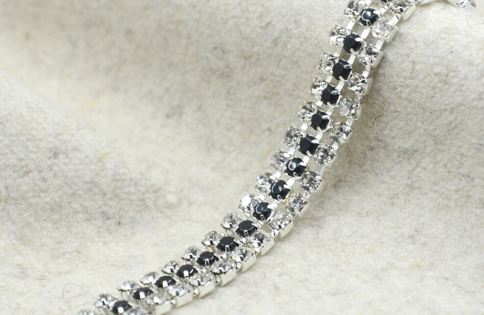 "3/8"" 10mm Three Rows Crystal Rhinestone Chain Trim, Wedding belt, Bridal Sash, Rhinestone Necklace-1 Yard"