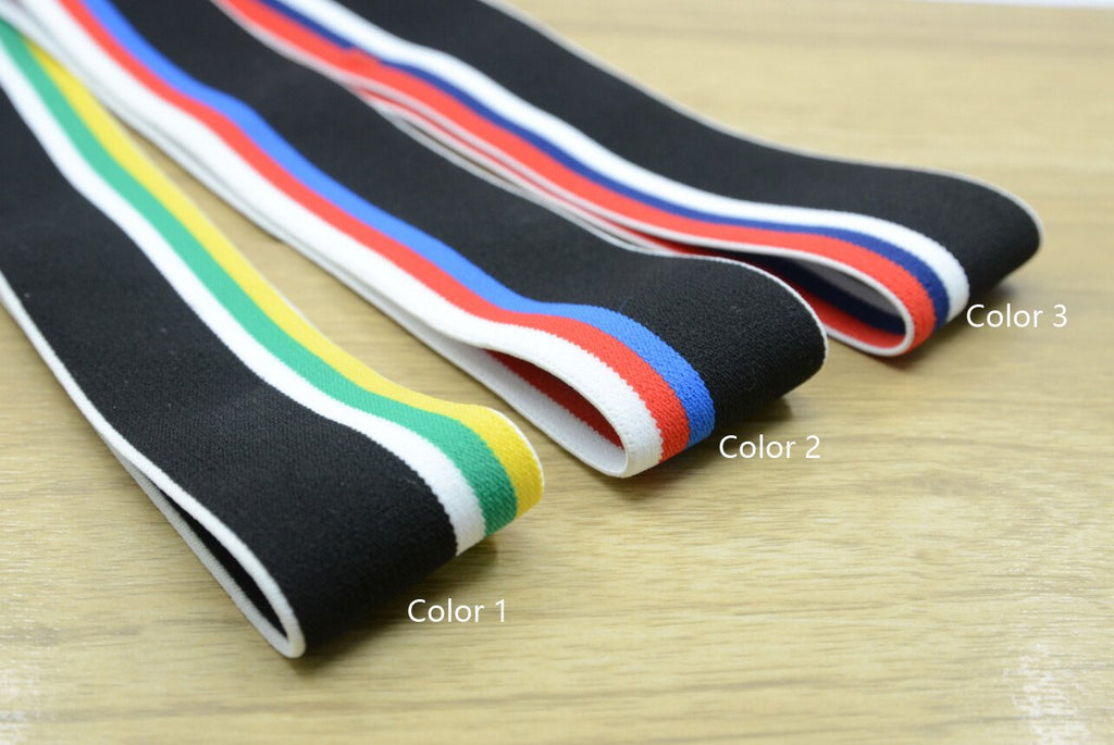 1.5 inch (40mm) Wide Colored Plush Four Colors Striped Elastic Band, Soft Waistband Elastic, Elastic Trim, Elastic Ribbon, Sewing Elastic