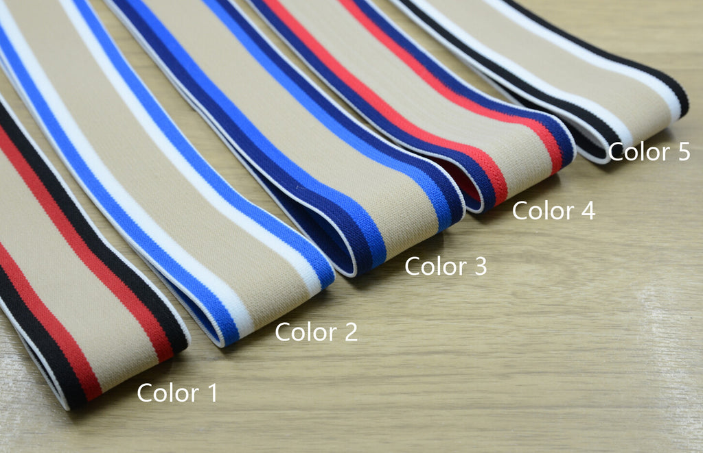 1.5 inch (40mm) Wide Colored Plush Three Colors Striped Elastic Band, Soft Waistband Elastic, Elastic Trim, Elastic Ribbon, Sewing Elastic