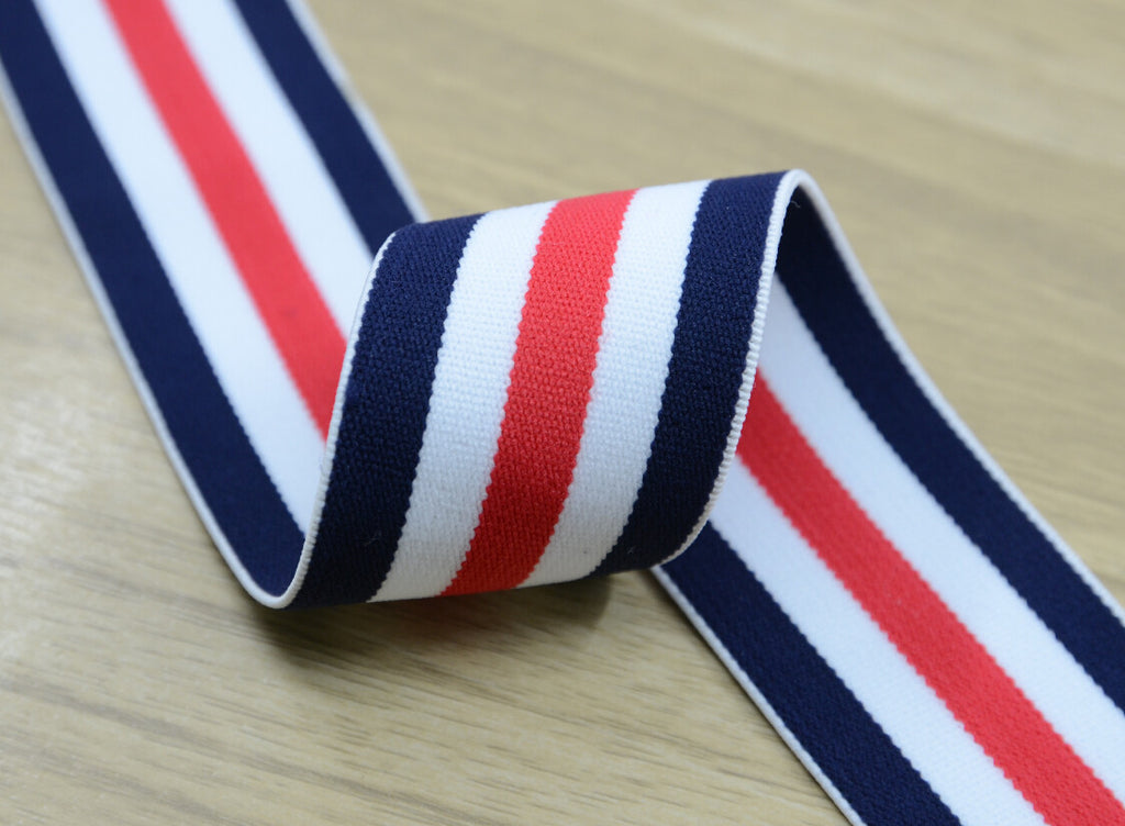 1.5 inch (40mm) Wide Colored  Plush Red White and Blue Thin Striped Elastic Band, Soft Waistband Elastic, Sewing Elastic