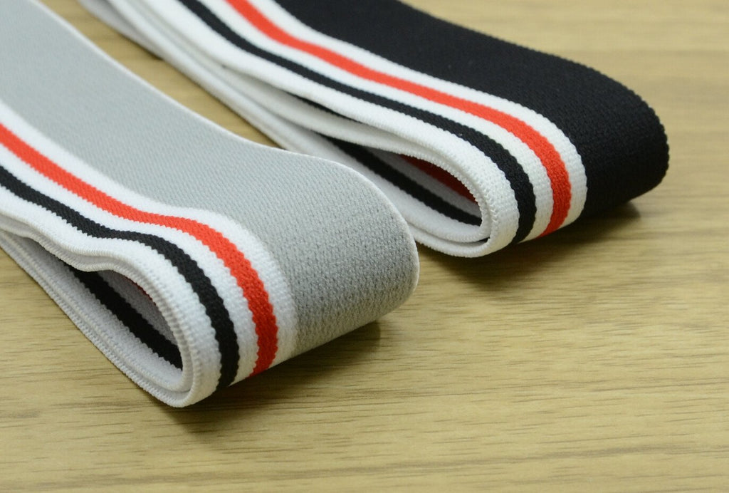 1.5 inch (40mm) Wide Colored Plush Striped Elastic Band, Waistband Elastic, Sewing Elastic