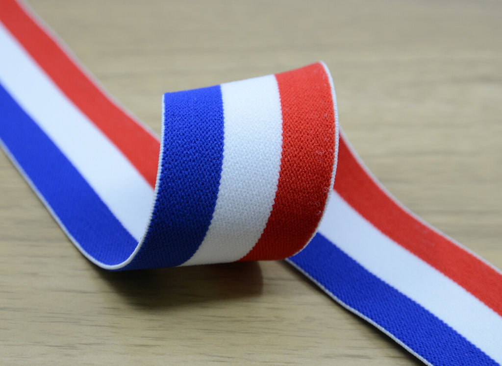 1.5 inch (40mm) Wide Colored Plush Blue White and Red Striped Elastic Band, Soft Waistband Elastic, Elastic Trim, Sewing Elastic