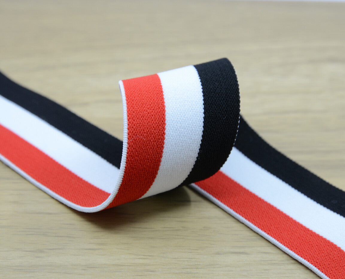 1.5 inch (40mm) Wide Colored Plush Red White and Black Striped Elastic Band, Soft Waistband Elastic, Elastic Trim, Sewing Elastic - strapcrafts