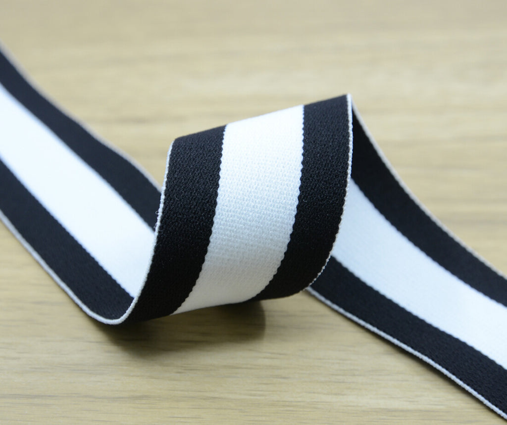 1.5 inch (40mm) Colored Plush White and Black Wide Striped Elastic Band, Soft Waistband Elastic, Elastic Trim, Sewing Elastic