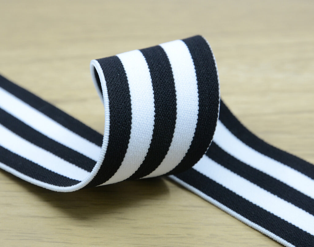 1.5 inch (40mm) Wide Colored Plush White and Black Striped Elastic Band, Soft Waistband Elastic, Elastic Trim, Sewing Elastic