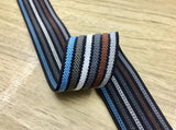 "1.5"" Wide Colorful Striped Jacquard Woven Waistband Elastic Band,Sewing Elastic, Colored Elastic -1 Yard - strapcrafts"